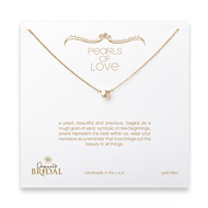 bridal pearls of love white pearl necklace, gold dipped