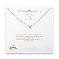 bridal pearls of love white pearl necklace, gold dipped - 18 inches