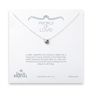 bridal pearls of love silver pearl necklace, sterling silver - 18 inches