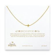 bridal sideways cross bridesmaid necklace, gold dipped