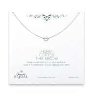 bridal here comes the bride heart necklace, sterling silver - 18 inches