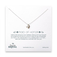 bridal full heart maid of honor necklace, sterling silver