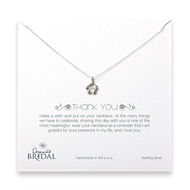 bridal thank you hibiscus necklace, sterling silver