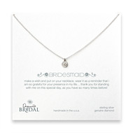 bridal circle diamond bridesmaid necklace, sterling silver