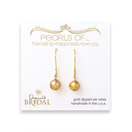 bridal pearls of... gold dipped earrings with gold pearl