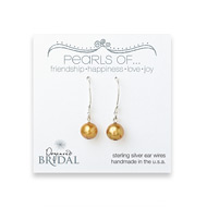 bridal pearls of... sterling silver earrings with gold pearl