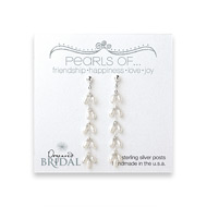 bridal dangling pearl sterling silver earrings