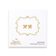 bridal bow stud earrings, gold dipped