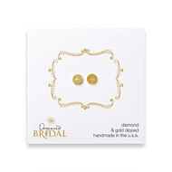 bridal circle diamond stud earrings, gold dipped