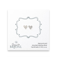 bridal heart diamond stud earrings, sterling silver
