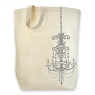 dogeared cotton tote - silver chandelier