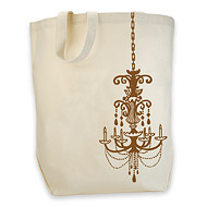 bronze chandelier organic tote bag