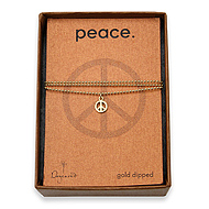 peace seed gold dipped necklace on tiny ball chain