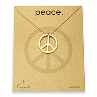 large peace sign gold dipped necklace on tiny ball chain