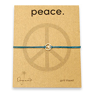 small peace bracelet gold dipped on teal irish linen