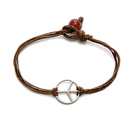 peace bracelet sterling silver on irish linen tobacco