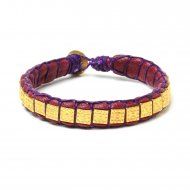 gifts to go collection gold dipped square bead & amethyst leather bracelet