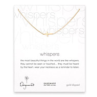 whispers sideways cross necklace, gold dipped