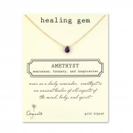 healing gem amethyst necklace, gold dipped