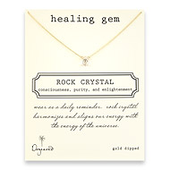 healing gem rock crystal necklace, gold dipped