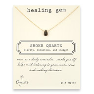 smoke quartz healing gem reminder necklace, gold dipped