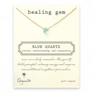 healing gem blue quartz necklace, gold dipped