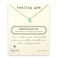 healing gem hemimorphite necklace, gold dipped