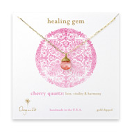 healing gem briolette cherry quartz necklace, gold dipped
