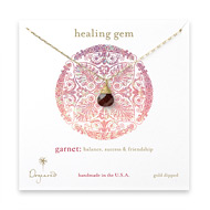 healing gem briolette garnet necklace, gold dipped