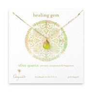 healing gem briolette olive quartz necklace, gold dipped