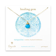 healing gem briolette turquoise necklace, gold dipped