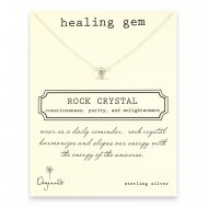 healing gem rock crystal necklace, sterling silver