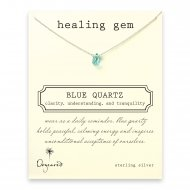 healing gem blue quartz necklace, sterling silver
