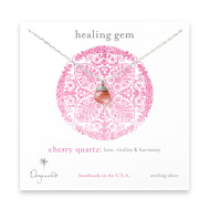 healing gem briolette cherry quartz necklace, sterling silver