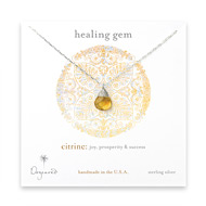 healing gem briolette citrine necklace, sterling silver