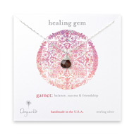 healing gem briolette garnet necklace, sterling silver