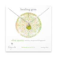 healing gem briolette olive quartz necklace, sterling silver