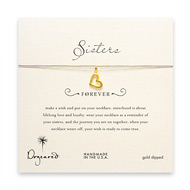 sorority sisters forever make a wish necklace with gold dipped loving heart on taupe thread