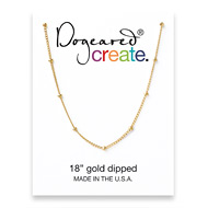 create beaded chain, gold dipped - 18 inches