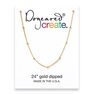 create beaded chain, gold dipped - 24 inches