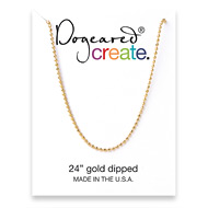 create faceted ball chain, gold dipped - 24 inches