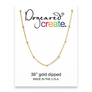 create beaded chain, gold dipped - 36 inches