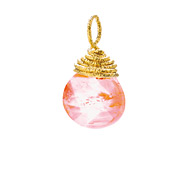 cherry quartz briolette gem, gold dipped