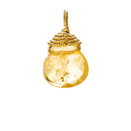 citrine briolette gem, gold dipped