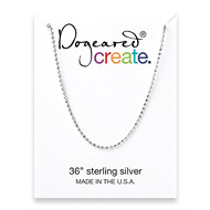 create faceted ball chain, sterling silver - 36 inches