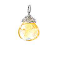 citrine briolette gem, sterling silver