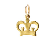 heart crown charm, gold dipped