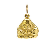happy buddha charm, gold dipped