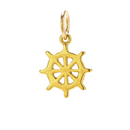 ship wheel charm, gold dipped