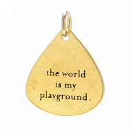 &quot;the world is my playground&quot; charm, gold dipped